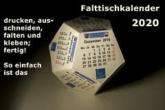 Falt / Tischkalender 2020 - Der Schnittbogen zum Ausdrucken (A4), als PDF speichern und drucken